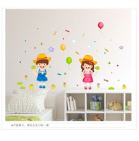 Wholesale Cartoon Balloon Stickers - Smiling Boy and Girl Wall Sticker Removable PVC Balloon Decals Kids Children Bedroom Nursery School Home Decor Wall Stickers