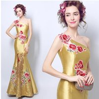 Wholesale Embroidered One Shoulder Evening Dress - 2017 New Cheap Real Image Chinese Style Formal Evening Dress Mermaid One-Shoulder Lace-Up Back Sweep Train Embroidered Vintage Party Dress