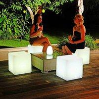 Wholesale Led Stools - Wholesale- 40*40*40CM LED Light Cube Stool Rechargeable 24Key Remote Control 16 Color-Changes Cubic Seat for LED Home Bar Garden