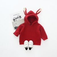 Wholesale Toddler Boy Vintage - Everweekend Toddler Baby Boys Girls Knitted Sweater Tops with Hats Vintage Red Color Autumn Winter Tops