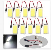 Wholesale Roof Led Lights - 100CS COB 18SMD T10 + Festoon Adapters LED Car Interior Roof Reading Panel Light Car Interior Reading Bulb