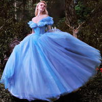 Wholesale Evenign Dresses - Ball Gown Prom Dresses 2017 Luxury Cinderella Dress Blue Cap Sleeve Quinceanera Formal Party Gown High Quality Evenign Gowns