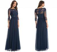 темно-синее платье из тюля оптовых-Темно-синий элегантный Sheer с длинным рукавом мать невесты платья кружева аппликации линия тюль длинные вечерние платья на заказ мать платья