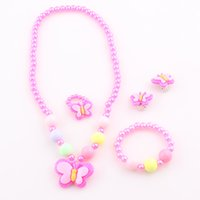 Wholesale Trendy Baby Colors - 2016 New Trendy Fashion Children Pretty Butterfly Jewelry Sets Necklace Bracelet Ring Earrings Baby Kids Girls Jewelry Set T4