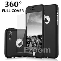 Wholesale Screen Protector Black - Ultra-thin Hybrid 360 Degree Full Body Protective Case Cover with Tempered Glass Screen Protector for iPhone X 6 7 8 Plus Galalxy s8 s9