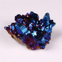 quartz de cristal bleu achat en gros de-Forme libre Aura bleue Titane Naturel Cristal Quartz Grappe Mystique Enduit Minéral Rock Point Druzy Décor À La Maison Drusy Geode Gemstone Spécimen
