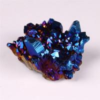 cristal azul cuarzo al por mayor-Freeform Blue Aura Natural Titanium Crystal Cuarzo Cluster Mystic Coated Mineral Rock Point Druzy Decoración para el hogar Geoda Drusy Espécimen de piedras preciosas