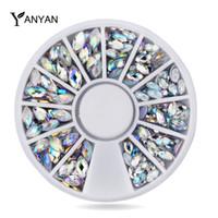 neuer nagelglanz großhandel-Großhandel New Crystal AB Nail Art Strass Dekoration Mix Größen Glitter Nail Beads 3D DIY Schönheit Nagel Zubehör Werkzeug