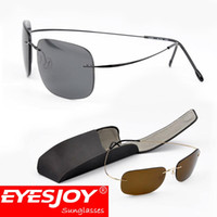 Wholesale Light Brown Frame Glasses - Rimless Sunglasses Silhouette Memory Pure Titanium Sun Glasses Frame Men Ultra Light Thin With Sunglasses Box Free Shipping SLH7611
