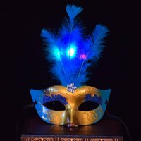 Wholesale legs lamp resale online - The supply of luminous gold powder LEG mask hair Princess lovely Feather Masquerade Mask
