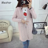 Wholesale Spring Autumn Women Pink Blue Twist Knitted Cardigan Women High Quality Pockets Thick Long Cardigan Coat Casual Loose Plus Size