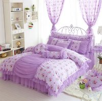 Wholesale Wedding Bedding Sets Lace - Wholesale-Princess bedclothes 100% cotton bedding set bed skirt lace style wedding bed set duvet cover set king queen full size doublebed