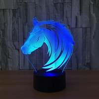 3D Horse Head Illusion Night Lamp 7 RVB Lumières colorées USB Alimenté avec bac de batterie AA Touch Button Dropshipping en gros