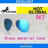 Wholesale Sky Sunglasses - KaChen N7 112 17 019 17 58 62mm uv400 SKY BLUE GLASS LENS Gold silver frame UV400 protection sunglasses glasses men women
