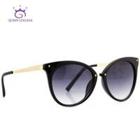 Wholesale college sunglasses resale online - Queen College Brand Design Cat Eye Sunglasses Women Top Quality Sun Glasses Eyeglasses colors CE UV400 AE0085
