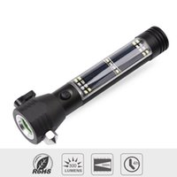 led mıknatıs ışıkları toptan satış-Çok İşlevli Güneş LED El Feneri USB Şarj Edilebilir Taşınabilir Torch Işık Parlak Çekiç ile Emniyet Çekiç Pusula Mıknatıs Güç Bankası Fonksiyonları