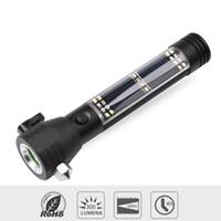 ingrosso torce a led luminose-Torcia multifunzione solare LED USB Bright Light ricaricabile portatile della torcia della luce con le funzioni di sicurezza del martello Compass Magnete Banca di potere