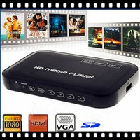 All'ingrosso Trasporto libero in pieno HD Media Player 1080P con HDD esterno supporto SD HDMI VGA MKV H.264 RMVB WMV USB