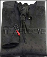 Wholesale Mens Vests Ascot Tie - Wholesale- New arrival free shipping Mens Suit black floral Vest (vest+ascot tie+handkerchief+cufflinks)