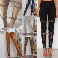Wholesale Tight Pants Package - Women Tight Elastic Pencil Pants 2017 Spring New Fashion Black Skinny Sexy Milk Silk Hollow Out Bandage High Waist Package Hip Pants W07