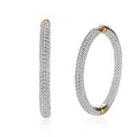 Wholesale Pave Hoops - wholesale Hemiston Top Quality Luxury Big Full Paved Cubic Zirconia Creole Earrings, Romantic Jewelry Gift For Women Brincos TF 126E