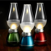 Wholesale Novelty Candle Light - LED Blowing Control Retro Kerosene Lamp USB Rechargeable Lamp Adjustable Blow On-Off Night Light LED Retro Lamp Novelty Lighting Home Decor