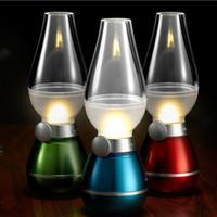 Wholesale Rechargeable Led Emergency Home - LED Blowing Control Retro Kerosene Lamp USB Rechargeable Lamp Adjustable Blow On-Off Night Light LED Retro Lamp Novelty Lighting Home Decor