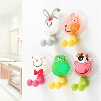 Wholesale Toothbrush Holder Cartoon Family - Wholesale Toothbrush Holders Family Creative Household Toiletries Cute Cartoon Suction-cup Wall Mount Toothbrush Rack Free Shipping