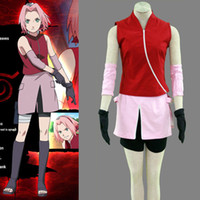 Wholesale naruto costume sakura haruno cosplay resale online - Naruto Shippuden Haruno Sakura Cosplay Costume Custom Made For Halloween