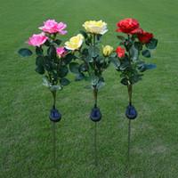 ingrosso fiori di giardino solare potenza-Vendita calda Solar Power 3 Rose Flower LED Light Garden Yard Decorazione del prato Visualizza Lampada Red / Yellow / Pink Christmas Lights Lamps ZJ0272