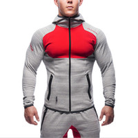 Wholesale Slimming Belt Muscle - Wholesale-2016new brand Gymshark hoodies sporting hoodies mens sweatshirt belt patchwork full sleeve Muscle Brothers man hoodies sportwear