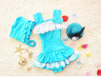 Wholesale Tiered One Piece Swimwear - 2017 New Girl Swimwear Lace Princess One Piece Tiered Dress Hot spring Swimming Suit+Cap 3-9Y 8811