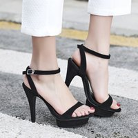 Wholesale Leather Straps Sexy - Womens Sandals Summer 2017 Genuine Leather Open Toe Fashion Sexy High Heels Strappy Sandals Black Khaki Suede Buckle Strap Platform Sandals