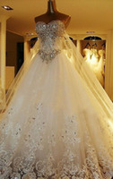 Wholesale Crown Court - 2017 A-Line Sweetheart Luxury Crystal Wedding Dresses Lace Cathedral Lace-up Back Bridal Gowns Appliques Beaded Garden Free Crown