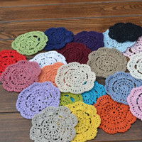 Wholesale Vintage Crochet Table Mats - 500pcs lot Vintage Diy Handmade 10cm Round Table Mat Crochet Coasters Zakka Doilies Cup Pad Props