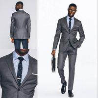 Wholesale Cheap Light Grey Suits Men - Fashion Grey Wedding Tuxedos Slim Fit Suits For Men Groomsmen Suit Two Pieces Cheap Prom Formal Suits(Jacket+Pants)