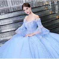 Wholesale One Shoulder 15 Dresses - elegant light blue long Quinceanera dress v neck appliques lace half sleeve ball gown debutante dress vestido 15 anos