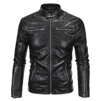 black fur collar biker jacket - New Spring Autumn Men Motorcycle Leather Jackets Sleeve Zipper Fashion Biker Faux Fur Coat For Male Stand Collar Plus Size M XL
