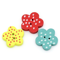 Wholesale Wholesale Sew Flower Embellishments - Kimter Radom Mixed Flower Dots Round Wooden Buttons With 2 Hole 15x14mm For Carft Embellishments Sewing Decoration Pack Of 200pcs I640L