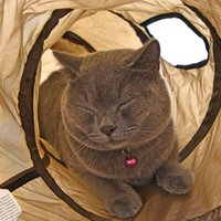 """Wholesale Bulk Plastic Toys - """"S""""Funny Pet Tunnel Cat Play Brown Foldable Holes Tunnel Kitten Cat Toy Bulk Cat Rabbit Play Tunnel"""