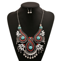 Wholesale Top Gemstone Earrings - 2016 Ethnic Colorful Gemstones Alloy Pendant Gothic Statement Collar Chokers Necklace And Earrings Set Women Top Grade Fine Jewelry