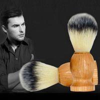 Wholesale Wood Shave Brush Handle - Barber Hair Shaving Razor Brushes Natural Wood Handle Nylon Bristle Beard Brush For Men Best Gift Barber Tool Factory Price 3006039