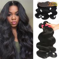 Wholesale Malaysian 3pcs Closure - Wholesale Brazilian Hair Weaves and Closures Peruvian Malaysian Indian Body Wave Bundle 3pcs Hair With Frontal Closure Human Hair Extenstion