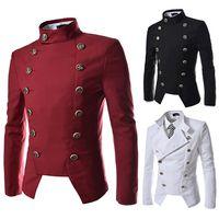 Wholesale Men Korean Red Blazer - Autumn Korean version of the new men's double-breasted design Slim men's youth Slim fashion Korean jacket male jacket