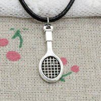 Wholesale Rope Racket - New Fashion Antique Silver Charms tennis racket 29*10mm Pendant Blacker Leather Cord Hand Made DIY Fashion Necklace Jewlery