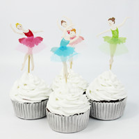 Wholesale Theme Party Supplies Wholesale - Wholesale-72pcs Ballet Girl Theme Party Supplies Cartoon Cupcake Toppers Pick Kid Birthday Party Decorations