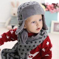 2016 Stern Hut Schal Set Kinder Cap Samt Bonnet Bomber Hut Nette Winter Hut Handschuh Gestrickte Caps Mädchen Warm Winter Hüte für Jungen Geschenk Schal