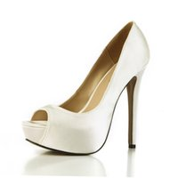 Wholesale Sexy Wedding Shoes Ivory - 2017 Woman Shoes Sexy Peep Toe Platform shoes High Heels Pumps Fashion Satin Bridesmaids Party Wedding Bridal Shoes Top Quality Luxury Pump