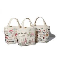Wholesale Star Gift Bags - Wholesale Hello Kitty &My Melody &Little Twin Stars Lunch Bags 18*23*10CM Women Kids Canvas Handbag Kawaii Cartoon Christmas gifts
