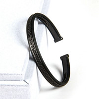 Wholesale Stainless Steel Jewelry Cz Bracelets - High Grade Jewelry Open Cuff Sivler Bangles Men Women Double Raw Black Cz Beads Bracelets Best Bangle Bracelet For Men